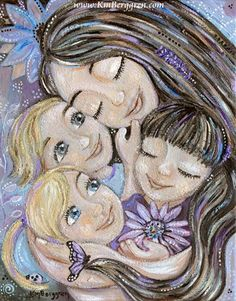 whimsical mother and children art in pastels, moving paintings of moms and babies, breastfeeding, babywearing and sleeping as a family. Motherhood art that connects and heals. Mother And Child Images, Mother And Child Painting, Whole Image, Girly Drawings, Mother's Day Diy, Surf Art, Pictures To Paint, Stretched Canvas Prints, Face Art
