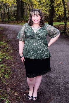 0de10dd80 Blogger Hailey shines in our plus size Lustrous Lace Wrap Dress. Shop our  entire made