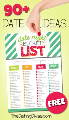 Printable Bucket List for Couples with over 90 FUN date ideas!  I love this!  It's the perfect solution for the usual 'I dunno, what do YOU wanna do?' when date night rolls around. www.TheDatingDivas.com