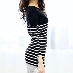 [Secret2Girls] Stripe Slim Fit T-Shirt