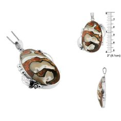 Sterling Silver Oval and Leaves Pendant with Turbo Shell Avend Concepts. $21.95