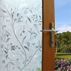 Vakker Bahay Privacy No Sticky Glass Film No Adhesive Heat Control Sun Blocker Removable Window Film Static Cling Floral Decorative Stained Window Glass x by Bathroom Window Glass, Bathroom Windows, Bathroom Cabinets, Frosted Window Film, Stained Glass Window Film, Window Privacy, Privacy Glass, Window Clings, Window Coverings