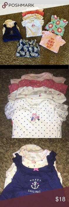 Girl, Carters 12 month onesie lot 9 total, good used condition! Carter's One Pieces