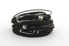 Silver Black Bohemian Wrap Bracelet Black Silver by cardioceras