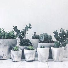 white/black or white/grey marbled cement pot by sort   notonthehighstreet.com