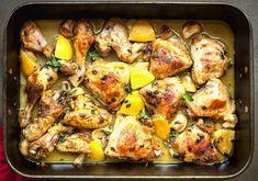 One-Pan Lemon & Garlic Chicken Dinner – Cooking Panda Lemon Butter Chicken, Greek Lemon Chicken, Lemon Garlic Chicken, Bariatric Eating, Bariatric Recipes, Bariatric Surgery, Kosher Recipes, Cooking Recipes, Cooking Hacks