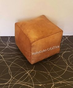 Moroccan Leather Pouf,Light Tan Square Moroccan Pouf,Cube Pouf, Foot Stool, Hand-stitched Pouffe, Ottoman,Foot-rest