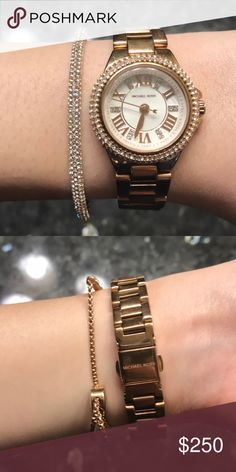 Michael Kors watch and bracelet Worn a few times. No flaws. MK watch and bracelet. Super cute. Small face watch. KORS Michael Kors Jewelry