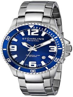 Stührling Aqua Blue Dial stainless steel dive watch