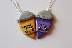 Peanut Butter and Jelly Inspired Friendship Necklaces or Magnets on Etsy, $12.89