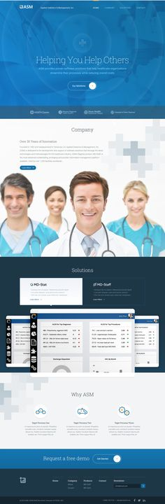 Blue color Ui design composition for Healthcare Industries home page website, by Jed Bridges on dribbble.