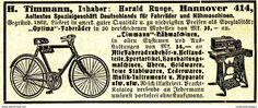 Original-Werbung/ Anzeige 1912 - TIMMAN / RUNGE / OPTIMA FAHRRÄDER - NÄHMASCHINEN - HANNOVER - Ca. 80 X 35 Mm - Werbung
