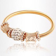 Women Beads Rhinestone Golden Stretchable Bracelet