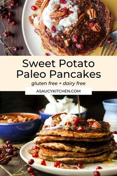 Paleo Sweet Potato Pancakes | A cinnamon & nutmeg spiced almond flour blend that's grain, dairy, and refined sugar free Gluten Free Recipes For Breakfast, Gluten Free Breakfasts, Healthy Recipes, Sweet Potato Pancakes, Paleo Sweet Potato, Spiced Almonds, Gluten Intolerance, Savory Breakfast, Curry Recipes