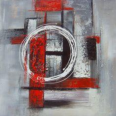 Tableau de peinture abstrait rouge et gris