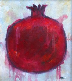 Big Red Juicy Drippy Pomegranate Original Acrylic by hartart13, $85.00