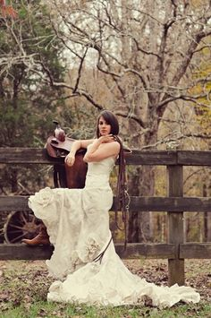 dress with cowboy boots - absolutely beautiful picture. Love the saddle and bridle...the only thing missing is the horse!