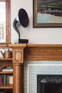 Craftsman Fireplace Mantels, Wood Mantels, Fireplace Design, Fireplace Tiles, Fireplaces, Mantles, Blue Kitchen Tiles, Patterned Kitchen Tiles, Dad's Kitchen