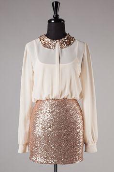 Secretary Sparkler Dress in Ivory and Gold