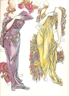 Paper Dolls In THe Style Of Mucha by Charles Ventura - Papírbabák Alfons Mucha stílusában - Nena bonecas de papel - Picasa Web Albums Alphonse Mucha, Paper Toys, Paper Crafts, Vintage Paper Dolls, Fashion Sketches, Scrapbook Paper, Fashion Dolls, Coloring Pages, Origami