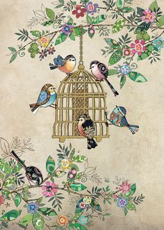 Quality greeting cards designed and published in the UK. Browse our ranges and shop online for decorative everyday designs and Christmas cards. Bird Drawings, Colorful Drawings, Molduras Vintage, Art Mignon, Art Carte, Bug Art, Ouvrages D'art, Indian Folk Art, Art Birthday