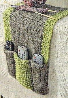 Remote Control holder : From: Simply Knitting Magazine issue page 51 Always know where your remotes are in this practical chunky knit. I cannot find the magazine issue anywhere. Knitted Remote Control holder : you could customize it to hold anything, like Crochet Home, Knit Or Crochet, Crochet Gifts, Crochet Baby, Remote Caddy, Remote Control Holder, Yarn Projects, Knitting Projects, Crochet Projects