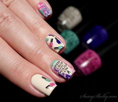 Polish Bottle Nail Art! advanced stamping and splatter with BM619 and OPI Nordic  |  Sassy Shelly