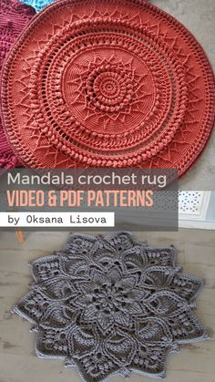 Crochet Doily Rug, Crochet Rug Patterns, Crochet Carpet, Crochet Mandala Pattern, Crochet Cushions, Doily Patterns, Crochet Wool, Crochet Crafts, Crochet Projects