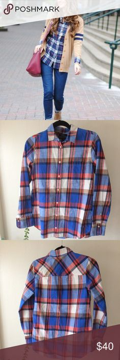J. Crew Perfect Boyfriend Shirt in Flanel Cotton. Long sleeves. Chest pocket. Machine wash. Excellent condition with little to no signs of wear.  Bundle so I can offer FREE shipping and my BEST offer. :) J. Crew Tops
