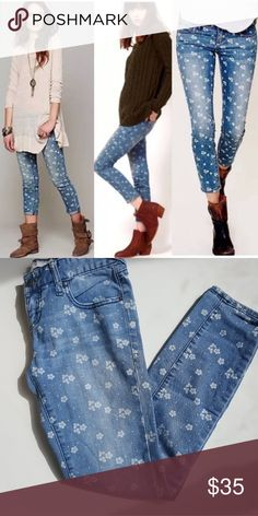 6de1399aee8 Free People floral print jeans size 25 Free People floral print jeans with  a white floral