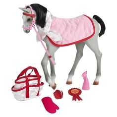 Add to the herd with the Our Generation Pretty Show Foal, designed to work perfectly with all of your little one's Our Generation dolls. Horse play set includes a posable horse toy, grooming bag, neck scarf, grooming mitten, halter and lead, spray bottle, a 1st Place ribbon, brush and foal blanket.
