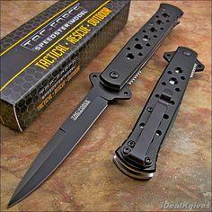 TAC-FORCE Spring Assisted Open BLACK Stiletto TACTICAL Folding Pocket Knife NEW! #TACFORCE