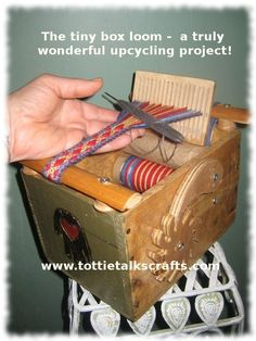 Upcycled box into band loom
