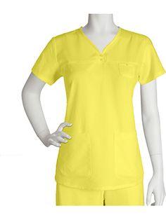 Grey's Anatomy Women's Junior Detailed V-Neck Solid Scrub Top #nursestyle #hospitalstyle #greysanatomy