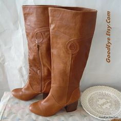 Vintage Stovepipe Boots Leather Size 9 .5 Eu 40 UK 7 by GoodEye, $63.00