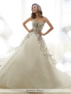 6c10351e9c Sophia Tolli - Y11709 Emeline - Strapless crystal organza ball gown with  plunging sweetheart neckline partially