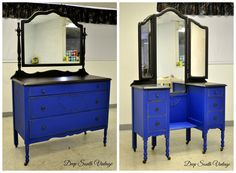 Vintage 1927 chest and matching vanity.  Painted in Miss Lillian's No Wax Chalk Paint. See more unique pieces at www.facebook.com/deepsouthrecreations.