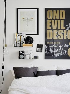 black and white and brass details in a cool Scandinavian bedroom