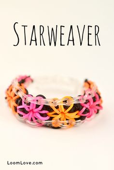 How to Make a Rainbow Loom Starweaver. Unlke the Starburst Bracelet this one has a coloured background behind the stars.