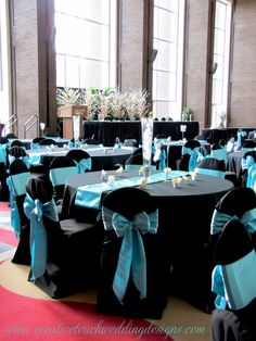 50's wedding theme ideas | Creative Touch Wedding Designs: Conexus Theatre Lobby-Aqua and Black