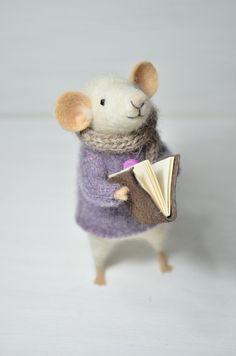 Little Reader Mouse - unique - needle felted ornament animal, felting dreams by johana molina. $68.00, via Etsy.