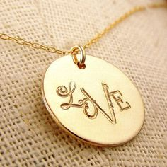 Love Necklace Hand Stamped Mixed Font Gold Charm by ERiaDesigns, $28.00...in silver please!