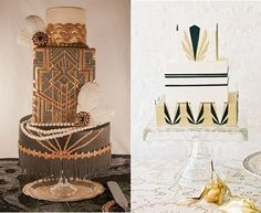 Gastby/art deco cake by Nom Nom Sweeties (left) and by Lael Cakes (right) 20s Wedding, Elegant Wedding Cakes, Wedding Cake Designs, Wedding Cake Toppers, Wedding Vows, Wedding Anniversary, Art Deco Bridesmaid Dresses, Art Deco Bridesmaids, Art Deco Wedding Theme