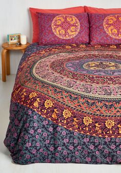 Bohemian Bliss Duvet Cover Set in Magenta - Full/Queen. Suite dreams are made of this - the cozy cotton and majestic print of this duvet set by Karma Living! #multi #modcloth