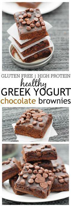 Healthy Greek Yogurt Chocolate Brownies ❤︎ Yumm!