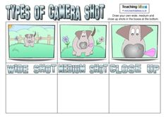 A resource to help children think about different types of camera shot. Types Of Camera Shots, Types Of Cameras, Lights Camera Action, Teaching Resources, Teaching Ideas, Summer Themes, The Unit, Hollywood, Animation