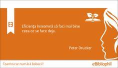 """""""Eficienţa înseamnă să faci mai bine ceea ce se face deja."""" Peter Drucker"""