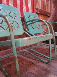 Vintage Metal Porch Glider Set Rocking Amp Bounce Chairs