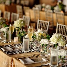 Brown and White Reception Decor with herb centerpiece/favors