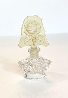 Vintage Czech Glass Mini Perfume Bottle Antique Hand Cut Glass | Etsy Vintage Vanity, Vintage Perfume, Crystal Flower, Glass Crystal, Lovely Perfume, Crystal Perfume Bottles, Cut Glass, Yellow Flowers, Czech Glass